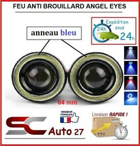 anti brouillard led xenon angel eyes universel diam 64 mm bleu toute marque