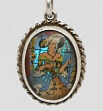 Vintage Silver 1930s Butterfly Wing Picture Necklace Pendant
