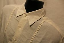 Men's Cubavera Mens Sz M S/S Button Front Off White Shirt Rayon Blend