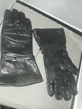 Black Leather Padded Motorcycle Gloves