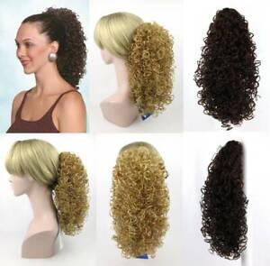 """15"""" LONG SPIRAL CURLS CURLY HAIR PONYTAIL HAIRPIECE CLAW CLIP WET LOOK POPPY"""