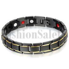 Black Stainless Steel Gold Strap Men's Ceramic Magnet Health Bracelet Chain