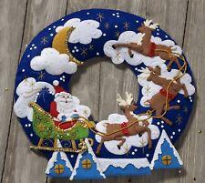 Bucilla Over The Rooftop Wreath ~ Felt Christmas Home Decor Kit #86736 Santa