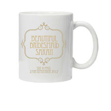 Personalised Gold Wedding Bridesmaid Mug/Cup - Perfect Thank You Gift/Favour