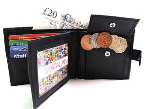 Mens Rfid Proctection Genuine Black Leather Wallet Credit Card Holder Coin Pouch