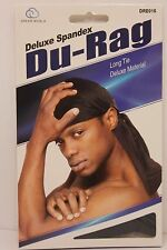 Black Deluxe Spandex DuRag Extra Long Tail Lightweight Superior Quality Du rag