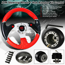 For Honda Civic Acura Integra Nos Button PVC Leather Red Steering Wheel + HUB