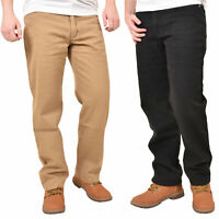 Mens Regular Fit Jeans Cotton Denim Straight Leg Trousers Casual Pants Bottoms