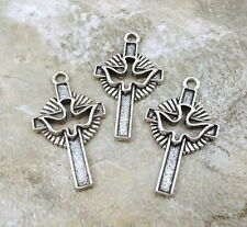 Three (3) Pewter Holy Spirit Cross with Dove Charms - 0117