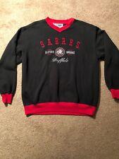 VTG BUFFALO SABRES V-Neck SWEATSHIRT NHL HOCKEY BLACK & RED Size Large
