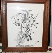 """Sketch Of Lakota Warrior Signed """"FEATHERS"""" By Artist Of Sprit Lake, ND Tribe"""