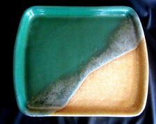 "BEAUTIFUL STEGALL POTTERY DISH SERVING TRAY--10.5"" X 8.5""--DARK GREEN GLAZE"