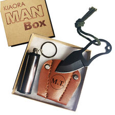 CUSTOM ENGRAVED KNIFE with Fire Starter. The MAN BOX. Awesome Gift for Men!