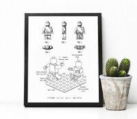 "LEGO man patent art, LEGO room decor, 8x10"" or A4 Sized"