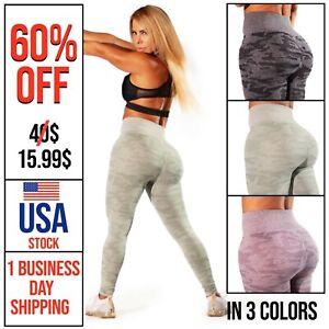 Seamless Camo Leggings Yoga Pants High Waist Fitness Gym Workout Scrunch Push Up