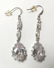 Formal/Bridal Silver Plated Clear Crystal Dangle Drop Earring