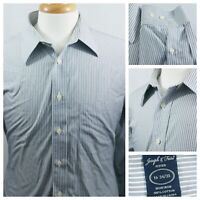 Joseph & Feiss Dress Shirt Men Size 16 34/35 Fitted Non Iron White Black Stripes