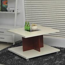 HOMCOM – Tavolino da Salotto in MDF con 2 Ripiani ed Alluminio 80x80x50cm Bianco