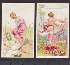 Antique 19th Century Flower Fairy 1800's Fantasy 125+ yr old 2x Whimsical Cards