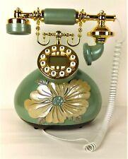 Vintage Princess Style Telephone Green Push-Button Decorative Fancy Set