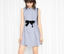PARIS ATELIER & OTHER STORIES Ladies Blue Sleeveless Front Bow Dress-Size-4