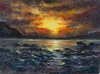 ACEO sunset glow sea landscape original oil canvas painting art card