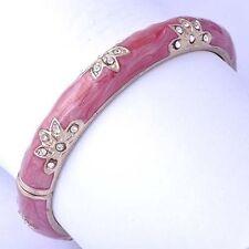 Yellow GF Cuff Enamel Bangle Bracelet Womens vintage Flower clear Crystal Gifts