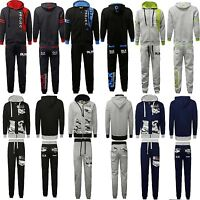 Mens Essentials Fleece Tracksuit Hooded Full Zip Top Jogging Bottoms Size S M XL