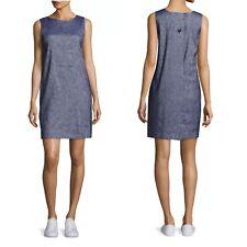Theory Deep Denim Tierra Wash Narlica 2-Pocket Sheath Dress $345 NWTS