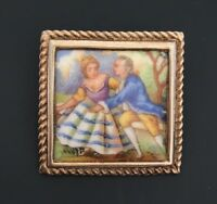 vintage Victorian  couple scene safety pin /brooch in porcelain On Metal