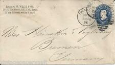 1895 SCOTT U330 DALLAS TO BREMEN,GERMANY DUAL FRANKING FRONT AND REVERSE