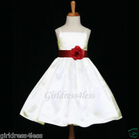 IVORY/BURGUNDY WINE SPAGHETTI STRAPS WEDDING FLOWER GIRL DRESS 18M 2 4 6 8 10 12