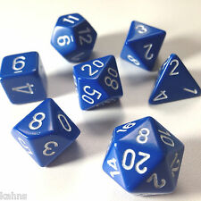 Chessex Dice Poly - Opaque Blue with White -Set Of 7- 25406 - Free Bag!  DnD