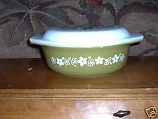 2 Pc Green Flower Baking Dish & Lid Sets A Little Chip