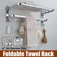 Stainless Steel Wall Mounted Bathroom Double Towel Shelf Rail Rack Holder Bar