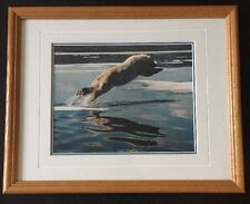 Thomas Mangelsen Signed Polar Bear Jumping Original Frame Excellent Condition