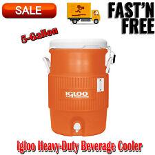 Vintage Jug Igloo Orange Heavy-Duty Safety Water Beverage Cooler 5gal Tow Handle