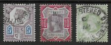 SG207a,210,211-1887 Jubilee 5d.,10d.,1s.Green. Fine Used Group.Cat.£130.Ref:0-14