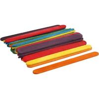 30 Wooden Sticks 11.4cmx10mm Assorted Colours Flat Ice Lolly Design Kids Crafts