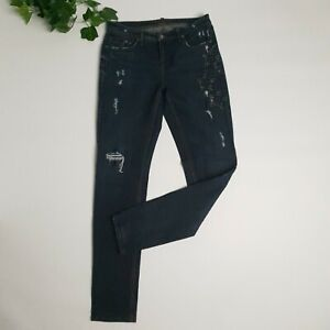 Cambio | Size 38 | Woman's Designer Dark Blue Jeans Embellished Leisure Fit