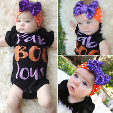 Halloween Newborn Infant Baby Girl Bodysuit Romper Jumpsuit Outfits Clothes Y3