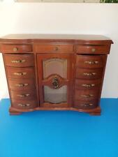 LARGE VINTAGE 10+ DRAWER FOOTED JEWELRY BOX ORGANIZER HOLDER  ARMOIRE NICE!
