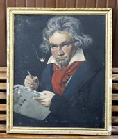 1915 After J.Stieler Oil Canvas Painting Portrait of Ludwig Van Beethoven Signed