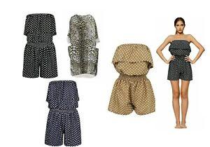 eBay Brand SUCCI SILVO Women's Polka Dot Frill Bandeau Boob Tube Playsuit Short