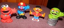 "Lot Of 4Sesame Street Workshop Hasbro Figures Toys / Cake Topper Fun 3"" GUC"