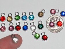 5pc Lot Miniature tiny little Crystal Rhinestone MIX red dangle Pendant charm*