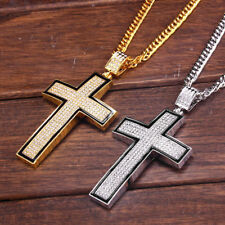 Big cross necklace in mens chains necklaces pendants ebay mens 25 goldsilver chain hip hop full rhinestone big cross pendant necklace aloadofball Image collections