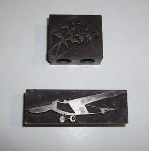 Lot of 2 Antique Ornate Typesetter Stamps- Airplane, Flower