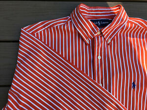 Men's Ralph Lauren Size 16.5 L Dress Shirt Nice Orange And White Striped