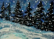 ACEO ORIGINAL Winter  PAINTING Snow Pine TREES Landscape Peace Night Holiday ART